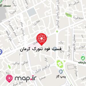 نقشه فست فود تنورک کرمان