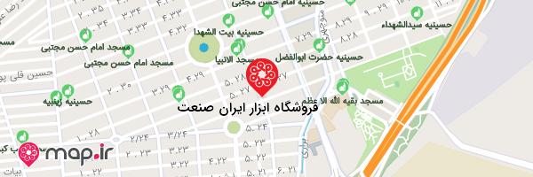 نقشه فروشگاه ابزار ایران صنعت