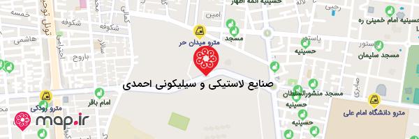 نقشه صنایع لاستیکی و سیلیکونی احمدی