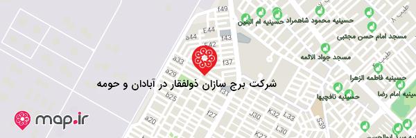 نقشه شرکت برج سازان ذولفقار در آبادان و حومه