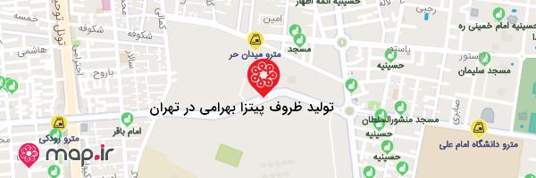 نقشه تولید ظروف پیتزا بهرامی در تهران